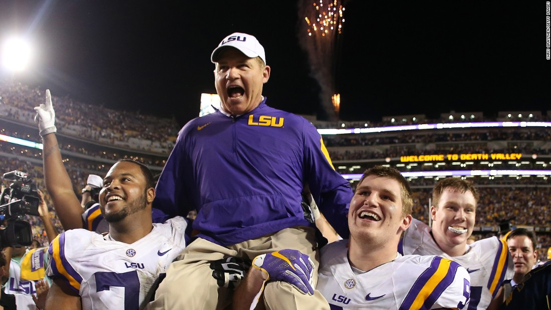"LSU head coach Les Miles is carried off the field by his players after a 19-7 home win over Texas A&M on Saturday, November 28. There were reports leading up to the game that Miles' job was in jeopardy, but the school's athletic director <a href=""http://bleacherreport.com/articles/2593928-les-miles-will-remain-as-lsu-head-coach-latest-details-comments-reaction"" target=""_blank"">confirmed afterward that Miles would not be let go.</a>"
