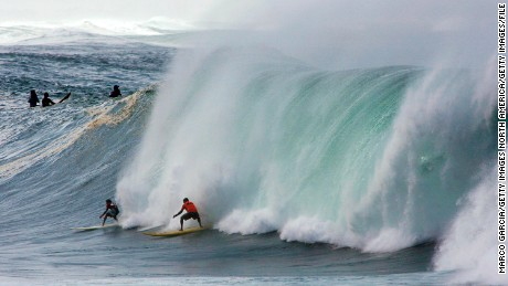 Waves were estimated to have peaked at 40 feet for the Eddie Aikau event in December 2004.
