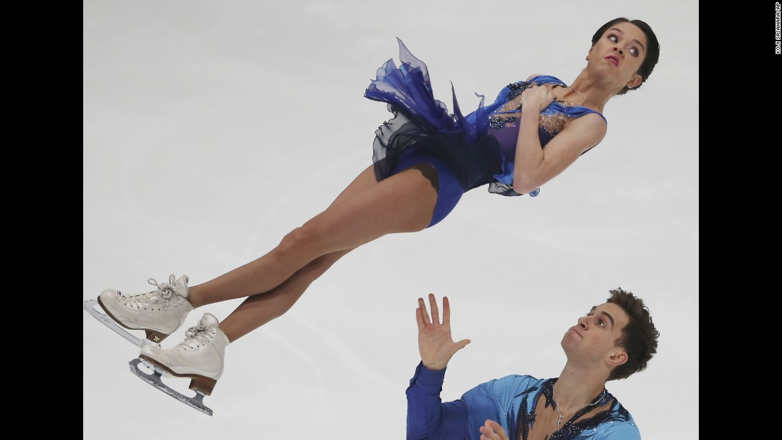 Russian figure skaters Vera Bazarova and Andrei Deputat perform their short program Friday, November 27, during the NHK Trophy event in Nagano, Japan.