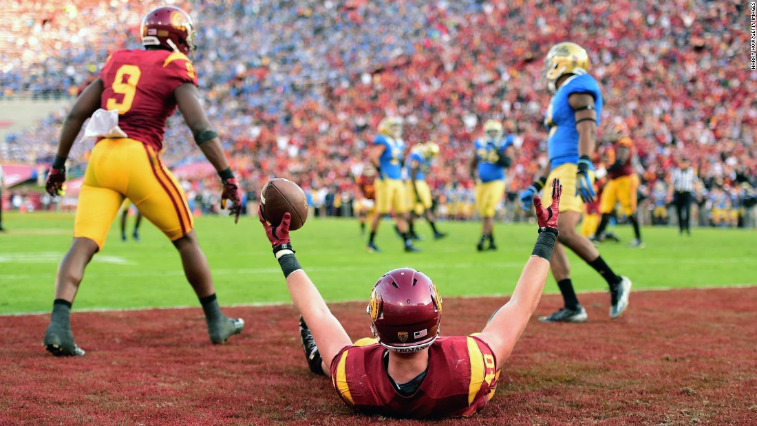 USC's Taylor McNamara celebrates his fourth-quarter touchdown during the Trojans' 40-21 victory over UCLA on Saturday, November 28. It was USC's first win in the Los Angeles rivalry since 2011, and it clinched the Pac-12 South Division title.
