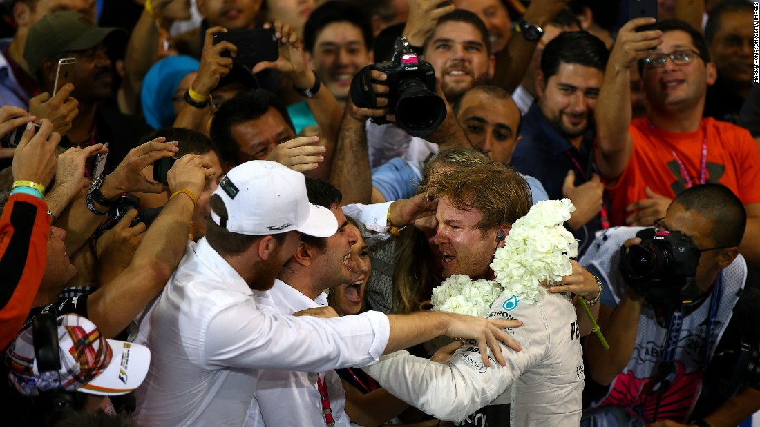 Formula One driver Nico Rosberg celebrates after winning the Abu Dhabi Grand Prix on Sunday, November 29. The Emirati race was the last event of the season. Rosberg won six races this season but finished second in the standings behind Mercedes teammate Lewis Hamilton. Hamilton won 10 races. Only one other driver on the circuit won a race this season -- Sebastian Vettel had three wins.