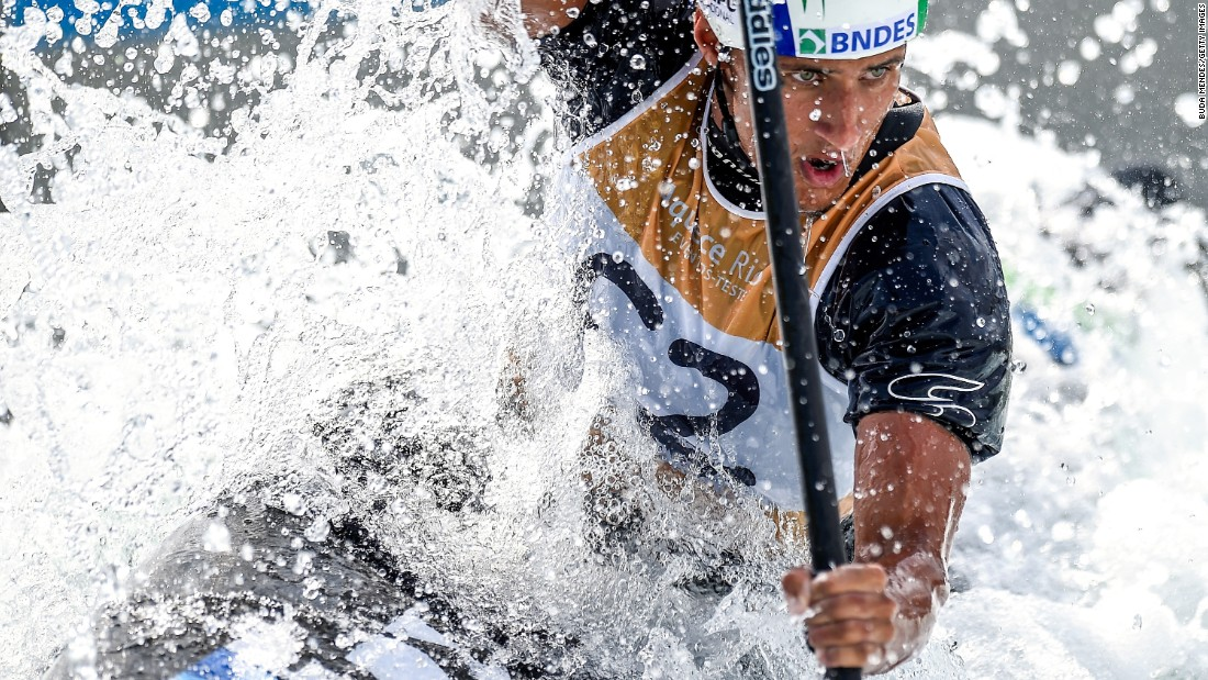 Brazilian canoeist Thiago Serra competes in a slalom race in Rio de Janeiro on Thursday, November 26. It was a test event for the upcoming Rio Olympics.