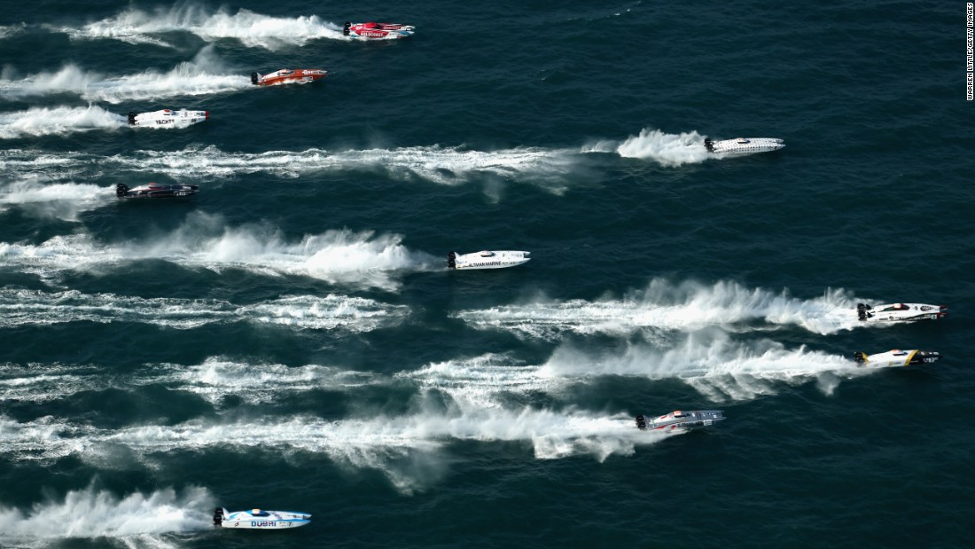 Powerboats race Friday, November 27, at the Abu Dhabi Grand Prix in the United Arab Emirates.