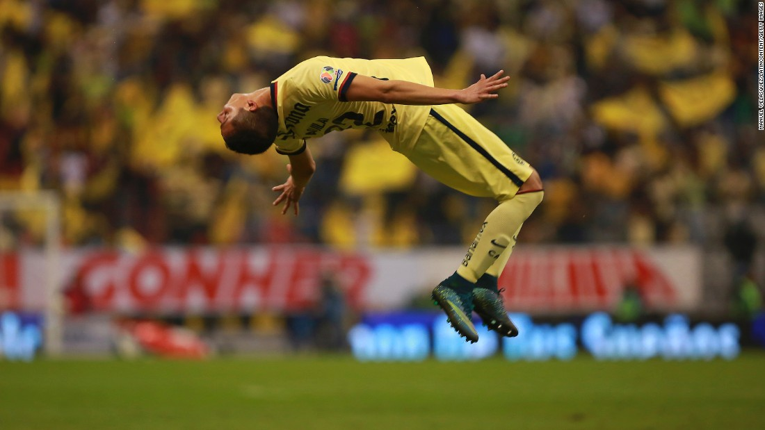 Club America's Paul Aguilar celebrates after scoring against Leon in the Mexican league's Apertura quarterfinals on Wednesday, November 25. Club America advanced to the semifinals by an aggregate score of 5-3.
