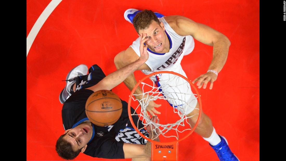 Los Angeles Clippers forward Blake Griffin is hit in the face by Minnesota's Nemanja Bjelica as they battle for a rebound during an NBA game in Los Angeles on Sunday, November 29.