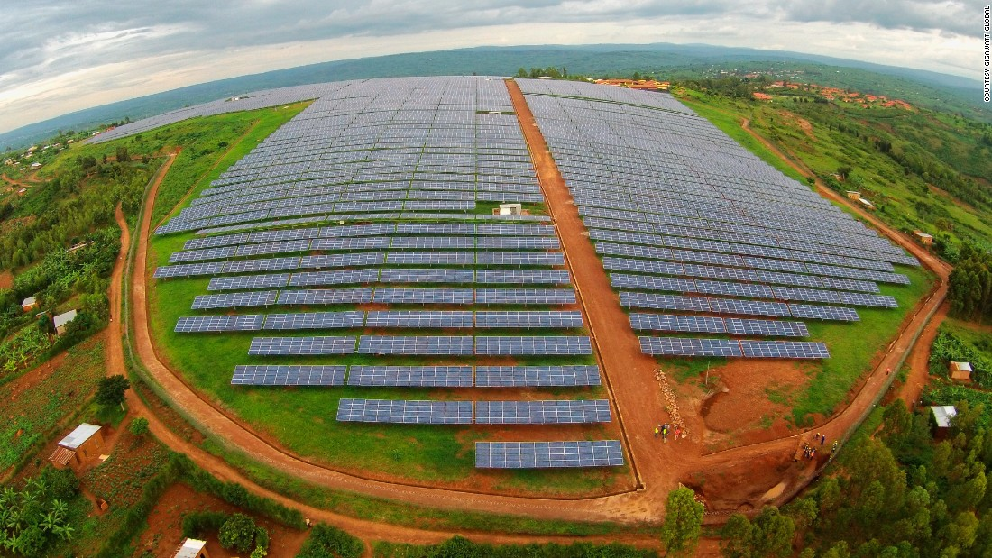 "An Africa-shaped 8.5 megawatt solar plant east of Rwanda's capital Kigali came into full production in December 2015. Its 28,360 photovoltaic panels spread across 17 hectares and light up 15,000 homes in the region -- <a href=""http://gigawattglobal.com/2015/02/08/gigawatt-global-launches-east-africas-first-solar-field/"" target=""_blank"">boosting electricity generation in Rwanda by 6%</a>.<br />"