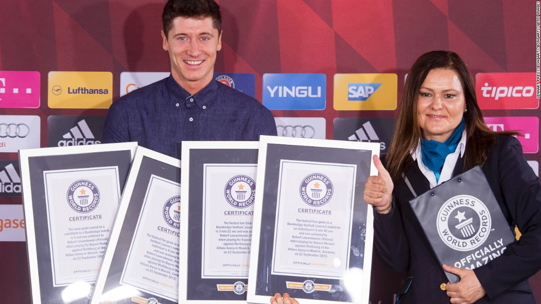 Robert Lewandowski is awarded with four certificates by Guinness World Records after scoring five goals in nine minutes for Bayern Munich against Wolfsburg in September's German Bundesliga clash. He set new records for the most goals scored by a substitute, the fastest hat-trick, and the quickest four and five-goal hauls.