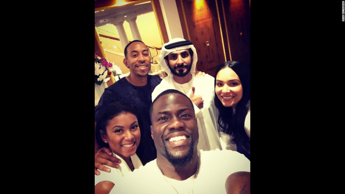 "Comedian Kevin Hart takes a selfie in Dubai, United Arab Emirates, on Monday, November 30. Behind Hart, from left, are his fiancee, Eniko Parrish; rapper Ludacris; Rashid Mohammed Bel Jafla; and Ludacris' wife, Eudoxie. ""I have to take the time to send out a major thank you to @rashid_aljafla for showing us such a good time,"" <a href=""https://www.instagram.com/p/-uB6PhCYp2/"" target=""_blank"">Hart said on Instagram.</a> ""You are a gentleman & a scholar. Today was mind blowing."""