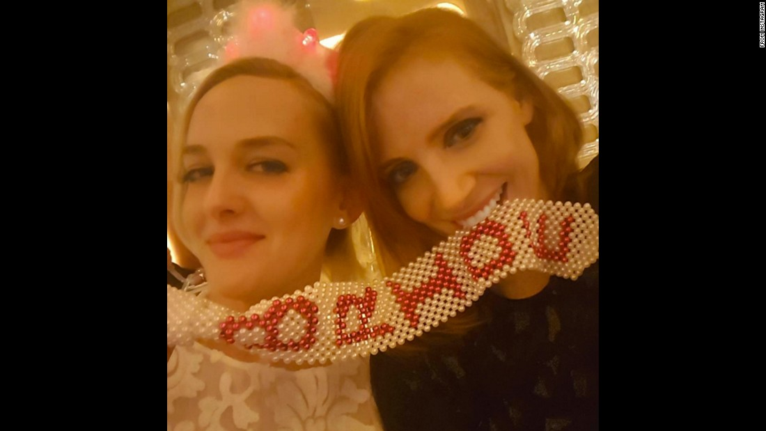 "Jessica Chastain, right, takes a selfie with fellow actress Jess Weixler during Weixler's bachelorette party in Las Vegas on Sunday, November 29. ""Embarrassing the bride with tchotchkes,"" <a href=""https://www.instagram.com/p/-sbalLPKnG/"" target=""_blank"">Chastain said on Instagram.</a>"