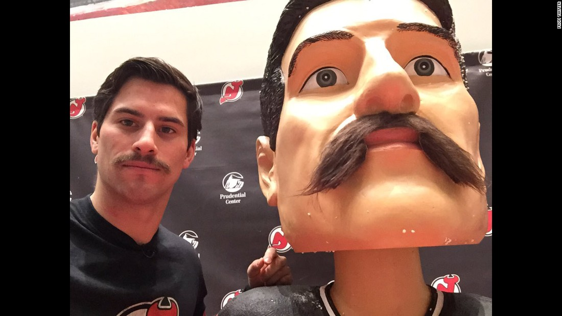 "Adam Henrique, a hockey player with the NHL's New Jersey Devils, takes a selfie next to a lookalike bobblehead on Tuesday, November 24. ""Twins!"" <a href=""https://twitter.com/AdamHenrique/status/669248381227790336"" target=""_blank"">Henrique tweeted.</a> ""Who's coming to Adam Henrique bobblehead night on December 1st?"""