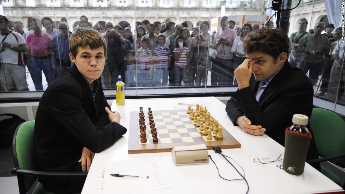 Carlsen plays against Armenian Levon Aronian in 2008. Today, he says the World No. 6 is one of his toughest opponents.