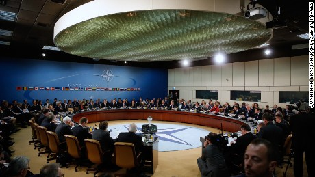 NATO foreign ministers gather for the session to formally admit Montenegro during ministerial meetings at the NATO Headquarters in Brussels on December 2, 2015.  NATO foreign ministers invited Montenegro to join the US-led military alliance, a move Russia has repeatedly warned would be a provocation and a threat to stability in the western Balkans. (JONATHAN ERNST/AFP/Getty Images)