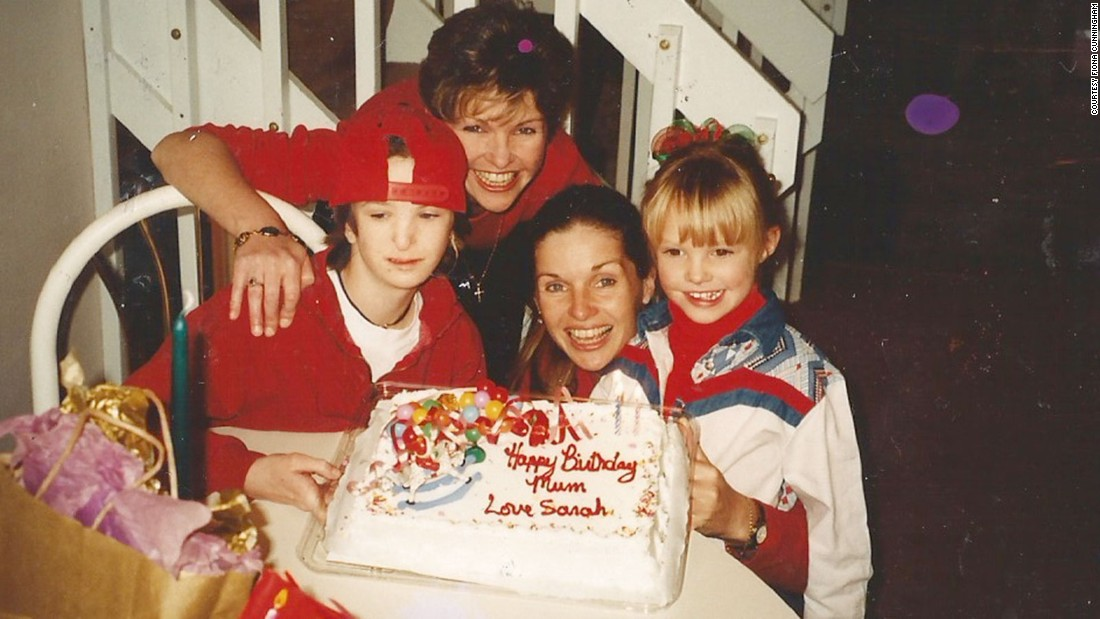 This was the last birthday together for the twins before Sarah Jane died. Also pictured are Sarah (right, with Fiona) and Sarah Jane's daughter, Allison (left).<br />