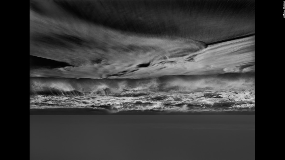 "Which part is the sea and which is the sky? For his photo series ""The Pull,"" Michael Massaia printed images of the two as they appeared -- inverted and backward -- on the ground glass of his large-format camera."