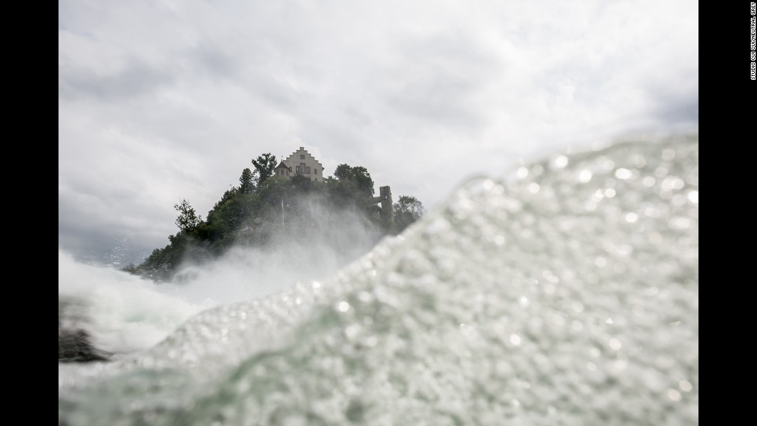 The Rhine Falls are a major tourist attraction in Neuhausen am Rheinfall, Switzerland.