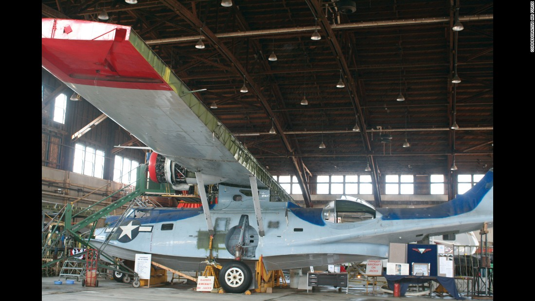 "This Consolidated PBY Catalina seaplane has been ""one of the most ambitious restoration projects in the history of the CAF,"" the CAF says. ""Much of the internal structure on the wing's trailing edge is badly damaged,"" the CAF says, including several destroyed ribs. The restorers, based in Duluth, Minnesota, have painted it to match a historic PBY that took part in the 1942 Battle of Midway."