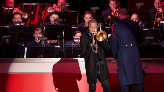 Trombone Shorty performs at the ceremony.