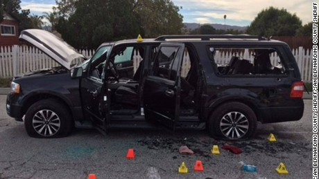 The shooters' black SUV after the gunfight with police.