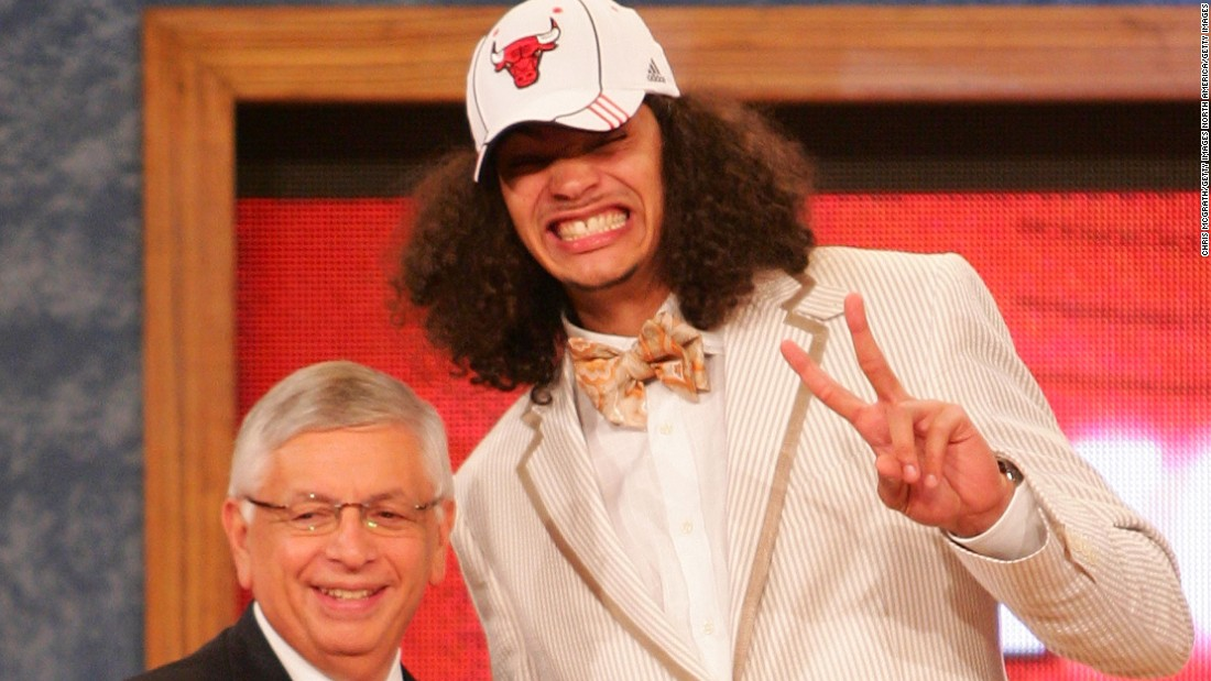 "In 2007, the Bulls' Joakim Noah went all-out for the draft, as he posed with then NBA commissioner David Stern. ""It's cool to be a little traditional, and that way they won't keep on showing your picture 20 years from now,"" says Chris Bosh of the Miami Heat."