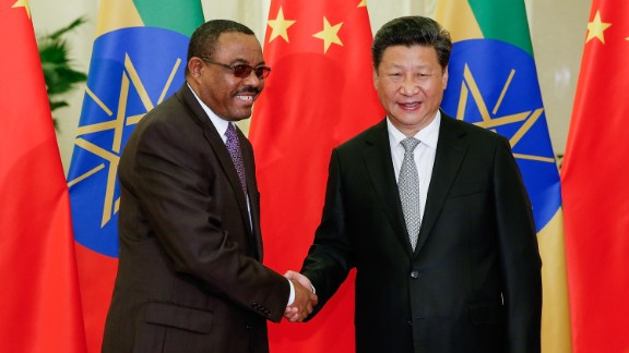 Chinese President Xi Jinping shakes hands with Ethiopia's Prime Minister Hailemariam Desalegn in Beijing in September, 2015. China has invested heavily in Ethiopia's railways in recent years.