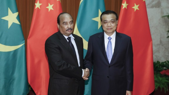 Mauritania's President Mohamed Ould Abdel Aziz shakes hands with Chinese Premier Li Keqiang in Beijing in September, 2015. Mauritania has seen significant investment from China, particularly in the important Nouakchott Port. The relationship has endured despite frequent political instability in Mauritania.