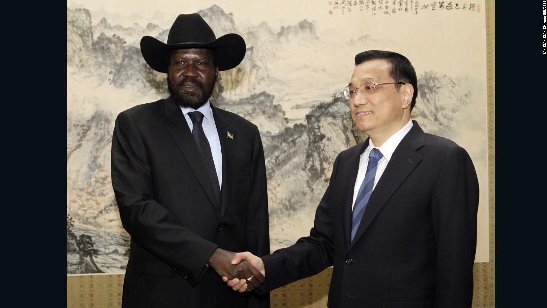South Sudan President Salva Kiir with Chinese Vice Premier Li Keqiang during a visit to Beijing in 2012.