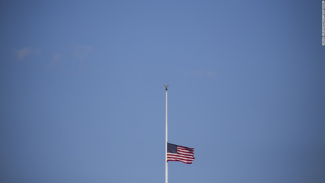 "The American flag flies at half-staff above the White House on Thursday, December 3, in Washington after President Barack Obama signed a proclamation ordering all flags to be flown at half-staff to honor the victims of Wednesday's <a href=""http://www.cnn.com/2015/12/02/us/gallery/san-bernardino-shooting/index.html"" target=""_blank"">mass shooting</a> in San Bernardino, California."