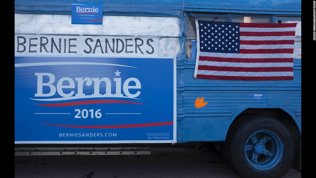 A bus for Democratic presidential candidate Bernie Sanders is seen outside the Radisson Hotel before the Jefferson Jackson Dinner on Sunday, November 29, in Manchester, New Hampshire.