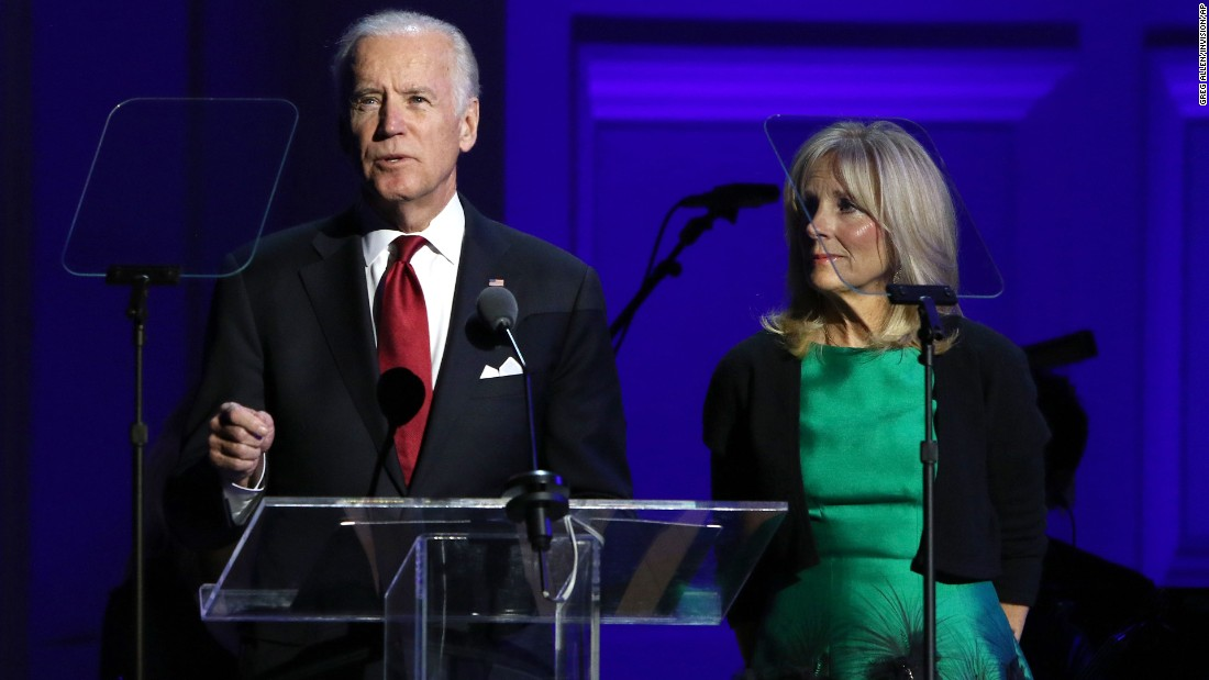 Vice President Joe Biden and Dr. Jill Biden speak at an event in celebration of World AIDS Day, at Carnegie Hall on Tuesday, December 1, in New York.