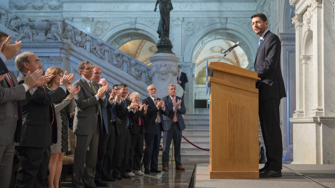 Members of Congress stand and applaud on Thursday, December 3, as new House Speaker Paul Ryan calls for a bold pro-growth agenda as he delivers his first major policy speech since talking over the gavel just over a month ago, at the Library of Congress on Capitol Hill.