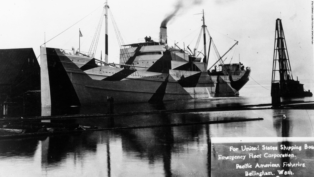 "A wooden ship built for the U.S. Shipping Board Emergency Fleet Corporation in Bellingham, Washington. The majority of wooden boats constructed never saw war service. Most were sold for salvage and then burned and sunk. This particular boat was painted with <a href=""http://www.shipcamouflage.com/1_4.htm"" target=""_blank"">""dazzle"" camouflage. </a>"