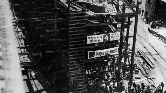 A military steel vessel during construction circa 1917. The photo illustrates the effort the U.S. went to during WWI. The image is taken on day 13 of a 17-day build.