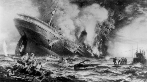 """The sinking of the Cunard ocean liner Lusitania by a German U-Boat off the Irish coast in May 1915 illustrates the ruthless nature of Germany's """"unrestricted submarine warfare."""" More than 1,200 people lost their lives, including 128 American citizens. The tragedy helped bring the U.S. into World War I."""
