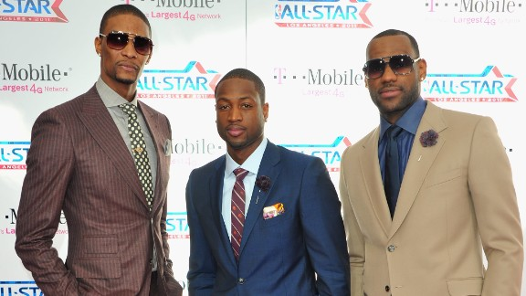 NBA players Chris Bosh, Dwyane Wade and LeBron James arrive to the T-Mobile Magenta Carpet at the 2011 NBA All-Star Game on February 20, 2011 in Los Angeles, California.  (Photo by Alberto E. Rodriguez/Getty Images)