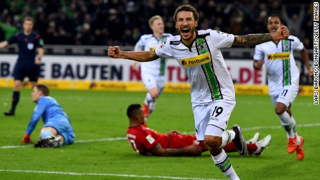 United States international Fabian Johnson rounds off the scoring for Borussia Moenchengladbach in the shock 3-1 win over Bayern Munich.