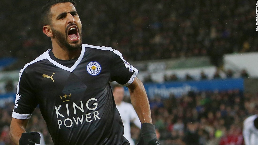 Algerian star Riyad Mahrez completes his hat-trick for table toppers Leicester at Swansea's Liberty Stadium.