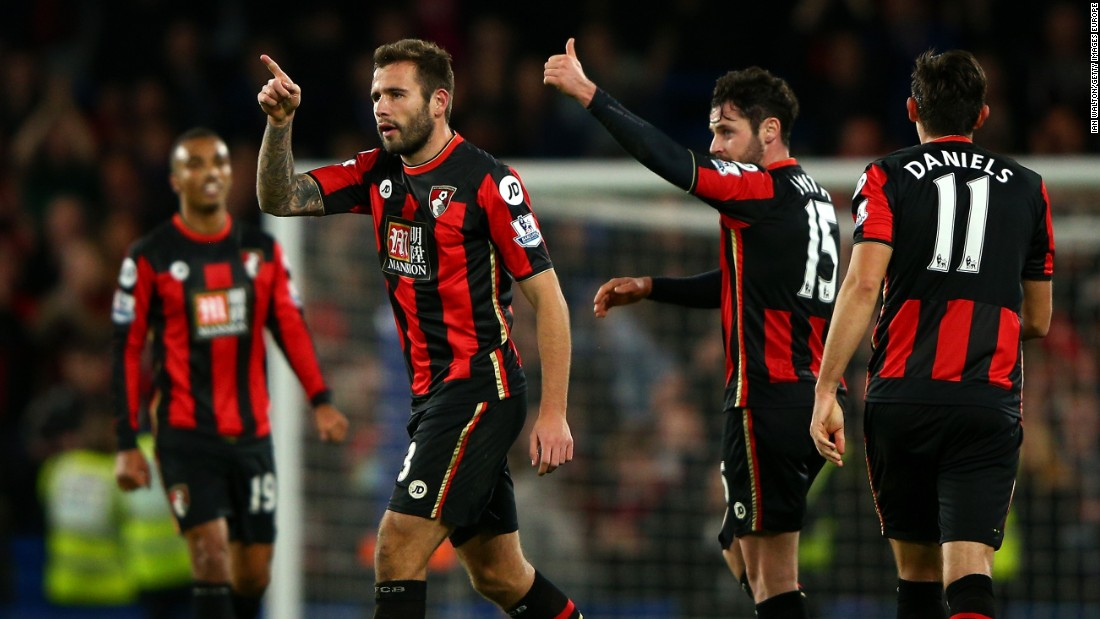 Bournemouth players celebrate their stunning 1-0 win at Chelsea thanks to Glenn Murray's late goal.
