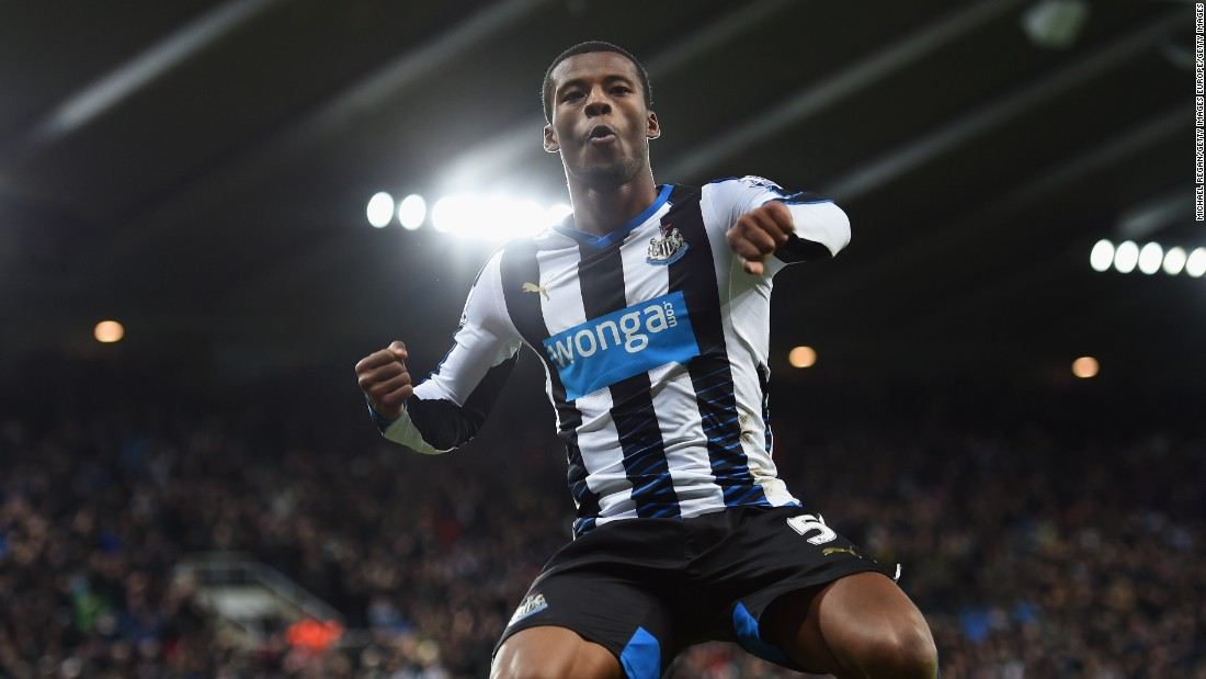 Georginio Wijnaldum of Newcastle celebrates his late goal in the 2-0 win over Liverpool at St James' Park Sunday to relieve the pressure on manager Steve McClaren.