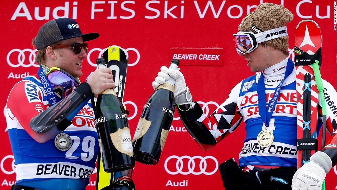 A day earlier, Ligety (left) and Austria's Marcel Hirscher had shared the podium after Hirscher took a surprise super-G victory.