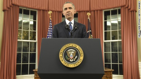 WASHINGTON, DC - DECEMBER 6: U.S. President Barack Obama addresses the country from the Oval Office on December 6, 2015 in Washington, DC. President Obama is addressing the terrorism threat to the United States and the recent attack in San Bernardino, California. (Photo by Saul Loeb-Pool/Getty Images)