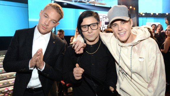 "Diplo, left, Skrillex, center, and Justin Bieber are nominated for best dance recording for Bieber's single ""Where Are Ü Now."" ""We're All We Need"" by Above & Beyond featuring Zoë Johnston, ""Go"" by the Chemical Brothers, ""Never Catch Me"" by Flying Lotus featuring Kendrick Lamar and ""Runaway (U & I)"" by Galantis are also nominated."
