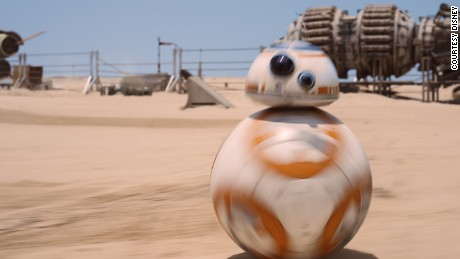 BB-8 going at full tilt across the desert on Jakku, filmed in Abu Dhabi.