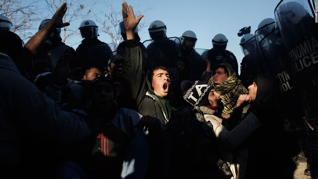 Greek anti-riot police clash with migrants at the border.