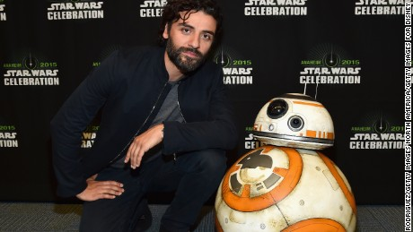 The red carpet version of BB-8 alongside actor Oscar Isaac at the Star Wars Celebration in Anaheim. Isaac plays pilot Poe Dameron, who the drone has an allegiance to -- one of the few plot points known about the film.