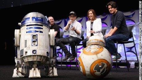 BB-8 alongside R2-D2 and director J.J. Abrams at Star Wars Celebration.
