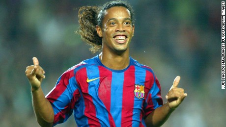 BARCELONA, SPAIN - OCTOBER 30: Ronaldinho of FC Barcelona celebrates his goal during the La Liga match between FC Barcelona and Real Sociedad, on October 30, 2005 at the Camp Nou stadium in Barcelona, Spain. (Photo by Luis Bagu/Getty Images)