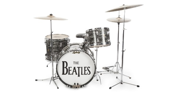 """Former Beatles drummer Ringo Starr netted $9.2 million after he and his wife, Barbara Bach, auctioned 1,300 pieces of memorabilia. Starr got more than $2 million for this 1963 Ludwig Oyster Black Pearl drum kit. It's the drum kit Starr played during 200 concerts and on most of the Beatles' earliest hits such as """"Can't Buy Me Love"""" and """"I Want to Hold Your Hand,"""" said Martin Nolan, executive director of Julien's Auctions."""