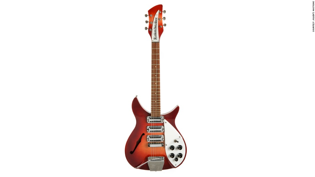 This 1964 Rose-Morris Rickenbacker guitar was owned by John Lennon and later gifted to Starr. The winning bid was $910,000.