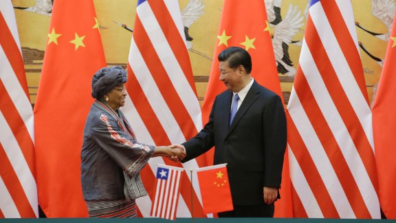 China's President Xi Jinping shakes hands with Liberia's President Ellen Johnson-Sirleaf in Beijing in November, 2015. The meeting was aimed at promoting bilateral relations.