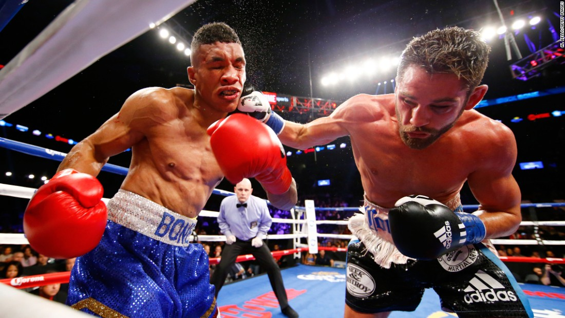 Chris Algieri lands a right hand against Erick Bone during their welterweight bout in New York on Saturday, December 5. Algieri won by unanimous decision.